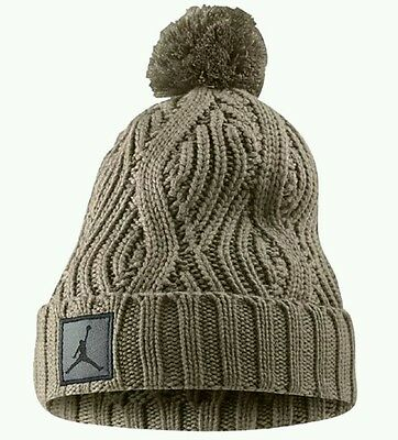 2d8db5d70 NIKE AIR JORDAN Jumpman Cable Pom Beanie Hat 801768-235 Beige Retro