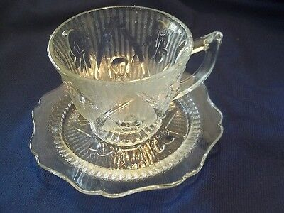 Iris &  Herringbone Crystal Depression Jeannette  Cup and Saucer Set