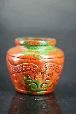 Exquisite workmanship Chinese old jade hand carved beast face pot  H6
