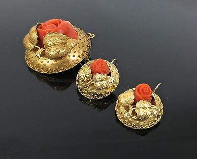 Antique Natural Coral & 14K Yellow Gold Hand Made Flower Pin & Earring Set