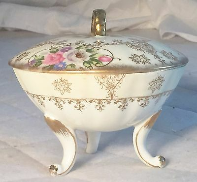 Vintage/antique 3 Footed Porcelain Candy Dish With Lid