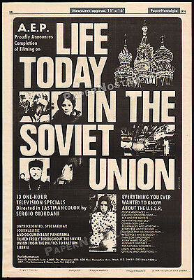 LIFE TODAY IN THE SOVIET UNION__Original 1974 Trade AD / poster__Sergio Giordani