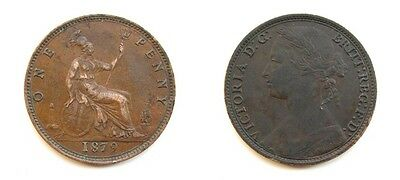 Victoria 1879 Bronze Young Head Penny - Rare Small Date Variety F98 - Nice Grade