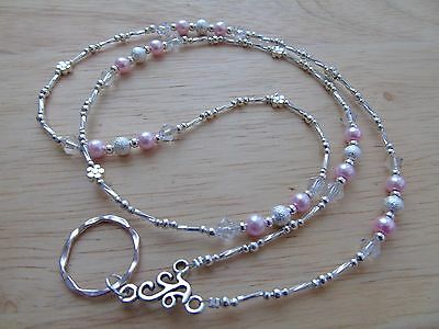 Handmade Beaded Spectacle / Glasses Chain Holder / Necklace. Pink Silver