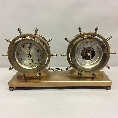 Brass Chelsea Ships Bell Clock/Barometer w/Thermometer Set