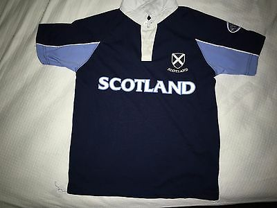 Scottish Rugby Shirt Short Sleeve Navy with White Collar Kids Size 10 or Size 12