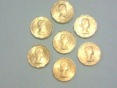 7 X Queen Elizabeth Ii 1967 Threepence 3D Brass Coins In Uncirculated Condition