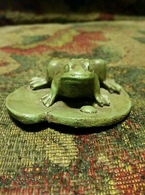 frog figurine clay hand crafted vintage