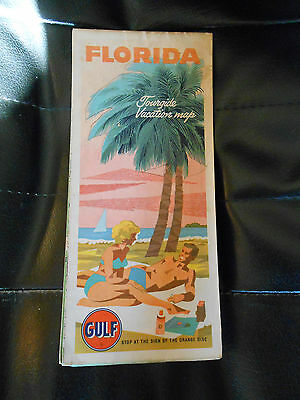 carte routière USA floride GULF 1965 road map