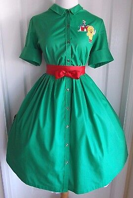 vintage 50s green shirtwaist full skirt dress with cute circus lion applique day