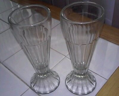 """Lot of 2 Ice Cream Soda Fountain ribbed clear TWO glasses 6"""" tall"""
