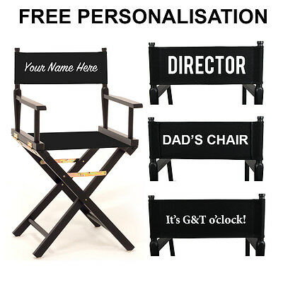 Personalised Black Directors Chair - Choice of Colours - Folding Wooden Chair