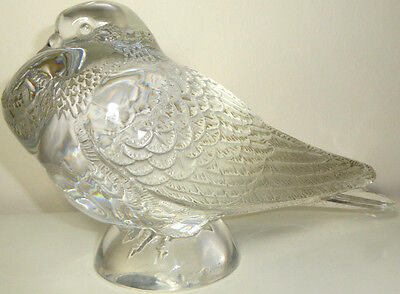Large Signed Lalique Pigeon Bruges Crystal Art Glass Bird Rare 26cm