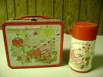 Vintage Strawberry Shortcake Lunch Box W/thermos (Well Used) Complete