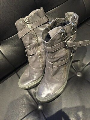 Ladies ASH Ankle Grey Boots Size 37 Uk 4 Soft Leather