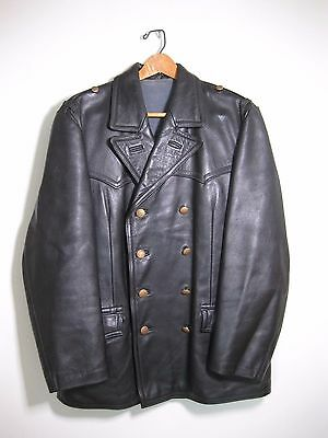 WW2 German Wehrmacht Officers leather coat sz 38 Med