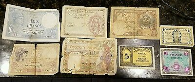 WW2  Banknote French Currency lot Francs Maroc