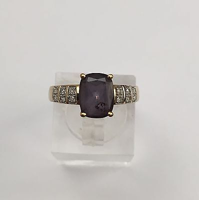 9ct Gold Amethyst And Diamond Ring, Size M