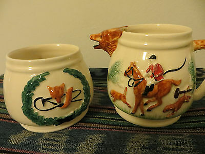 Portland Pottery Cobridge Fox Hunting sugar bowl & milk jug