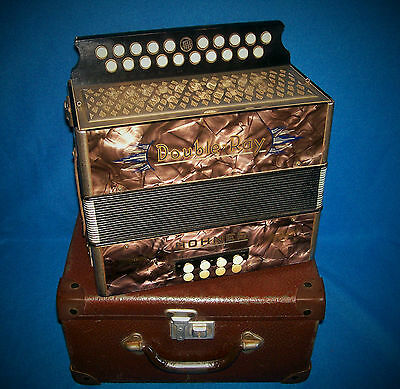 HOHNER ACCORDION DOUBLE-RAY BLACK DOT + CASE  KEY of B/C EXCELLENT PLAYER GC