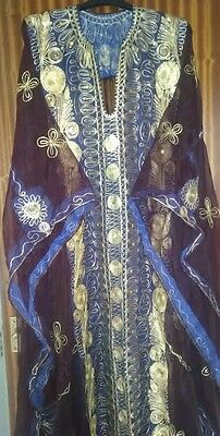 Ladies Bahraini Long Purple Dress with gold embroidery and sequins(new)