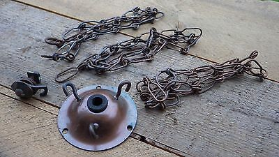Vintage  Bronze Effect 3 Hook Chandelier Set Of Chains Ceiling Hanging Light Fix