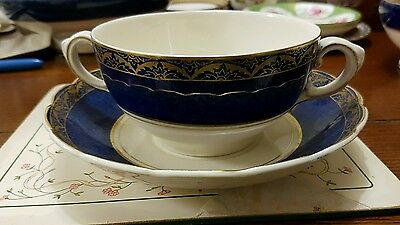 Antique Wedgwood and Co Large saucer and loving cup c1910