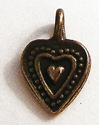 Heart Charm Assorted Antique Replica Medal Pendant Sterling Silver Bronze #102