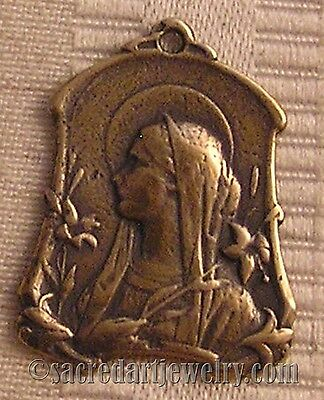 Mary with Lilies Art Nouveau Replica Medal Pendant Sterling Silver Bronze #431
