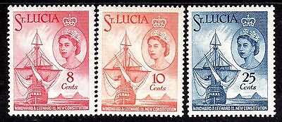 Q.E.II M/LH SET OF 3 ST.LUCIA NEW CONSTITUTION FROM 1960,,,ONLY 59p