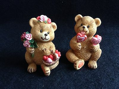 Pair of Carved Resin Valentines Day Collectible Teddy Bears w/Candy Hearts