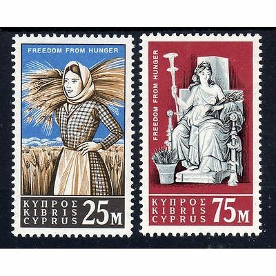 Q.E.II M/LH SET OF 2 CYPRUS FREEDOM FROM HUNGER,,,,69p START.