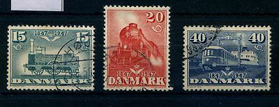 DENMARK SG 353 to 355 COMPLETE SET of Three 1947 CENTENARY OF RAILROADS  USED