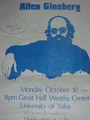 allen ginsberg autograph signed on poster - beat generation kerouac