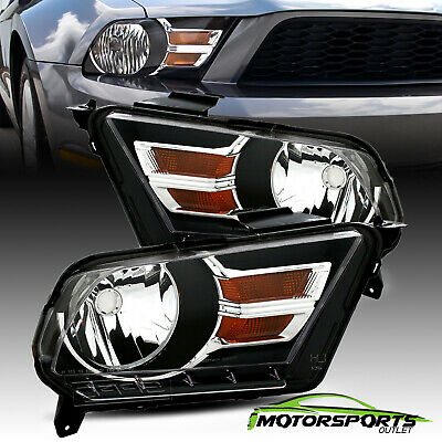 2010 2011 2012 2013 2014 Ford Mustang Black Factory Style Headlights Pair