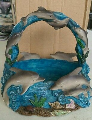 9- Swimming Dolphins Figurine Basket