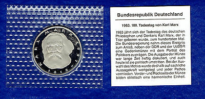 5 DM BRD - Karl Marx -  1983 J- Original PP Bad Homburg Gedenkmünze - TOP-