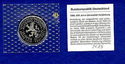 5 DM BRD Universität Heidelberg 1986 D Original PP Bad Homburg Gedenkmünze - TOP