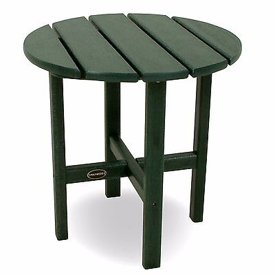POLYWOOD Round Side Table 18 Inch Green Color Recycled Lumber New See Details