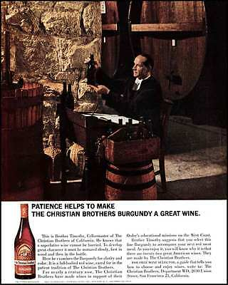 1964 Christian Brothers Burgundy Wine with Brother Timothy Original Vintage Ad
