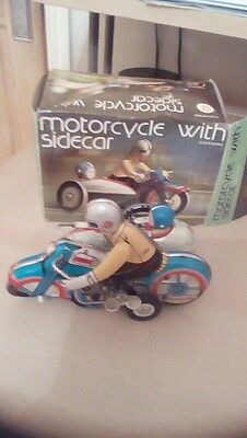 Vintage Retro Tinplate Motorcycle rider with sidecar wind up / Clockwork toy.