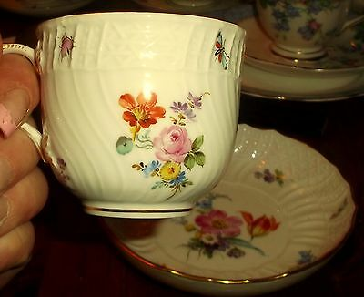 Superb Antique Meissen Porcelain Flowers & Insects Cup & Saucer
