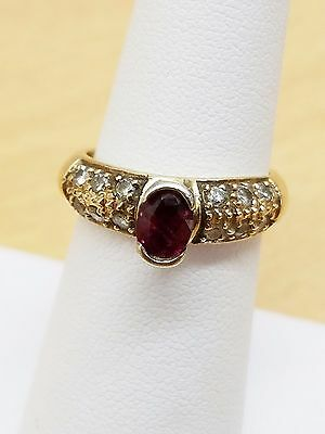 Vintage 14k ruby diamonds ring