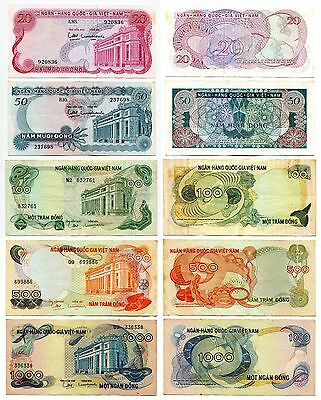 1970 Vietnam South banknote  20 50 100 500 1000 dong , pinhole on 1000 dong note