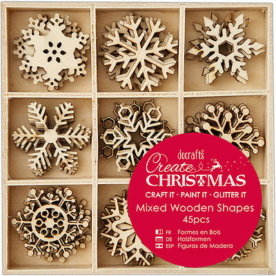 Papermania Create Christmas Wooden Shapes In Tray 45/Pkg Small Snowflakes PM1059