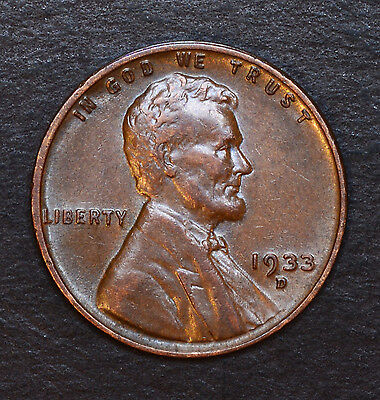 1933 D - Nice, Very High Grade Circulated Lincoln Wheat Cent