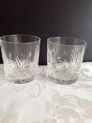 Stunning Crystal Cut Whiskey Glasses X 2