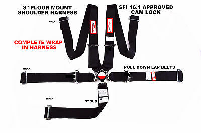 "Off Road Racing All Wrap Harness 5 Point Floor Mount 3"" Cam Lock Sfi 16.1 Black"