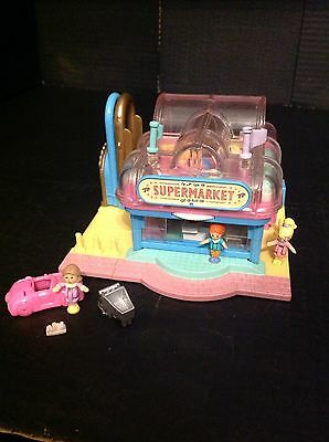 Vintage Polly Pocket Supermarket 100% Complete With Figures And Groceries