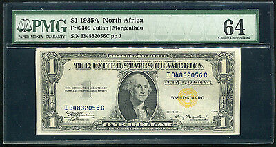 """Fr. 2306 1935-A $1 One Dollar """"north Africa"""" Silver Certificate Pmg Unc-64"""